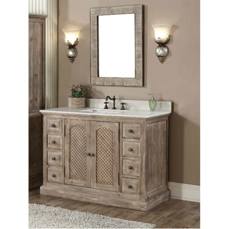 Infurniture Rustic Style 48 Inch Single Sink Bathroom Vanity With Matching Wall Mirror