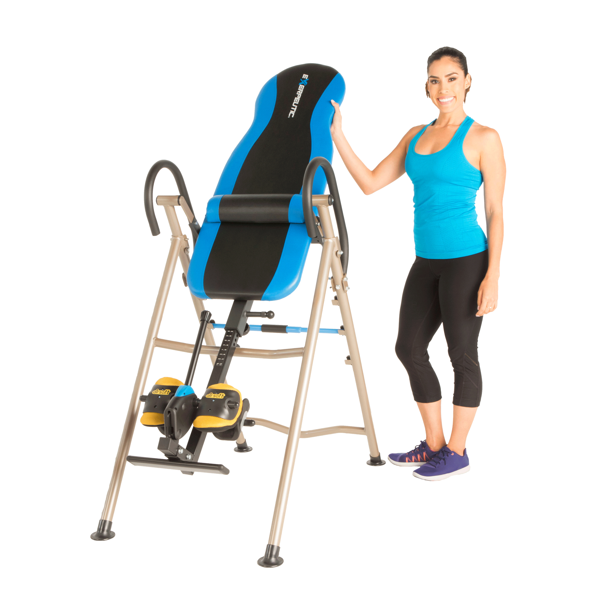 EXERPEUTIC 225SL Inversion Table with 'SURELOCK' Safety Ratchet System, Lumbar Spine Support and AIRSOFT No Pinch Ankle Holders
