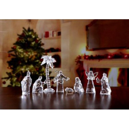 Religious Crystal - 8 Piece Icy Crystal Religious Pocket-Sized Nativity Sets in Velour Bags 5