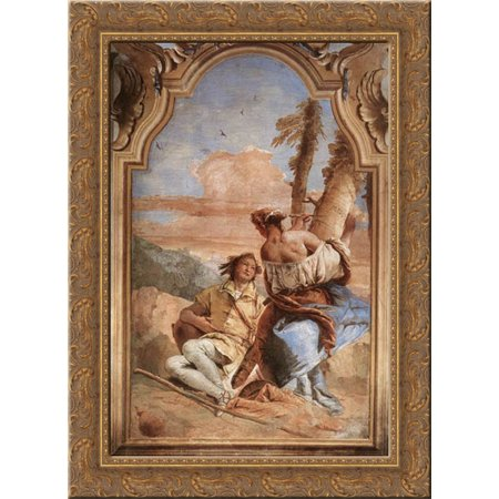 Angelica Carving Medoro's Name on a Tree 19x24 Gold Ornate Wood Framed Canvas Art by Tiepolo, Giovanni Battista Ornate Wood Carved Top