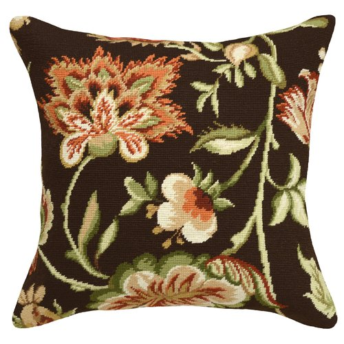 123 Creations Jacobean Floral Needlepoint Wool Throw Pillow