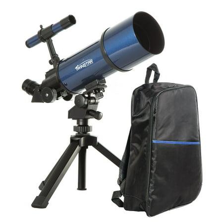 Twinstar 80mm Refractor Telescope Backpack Bundle, Blue