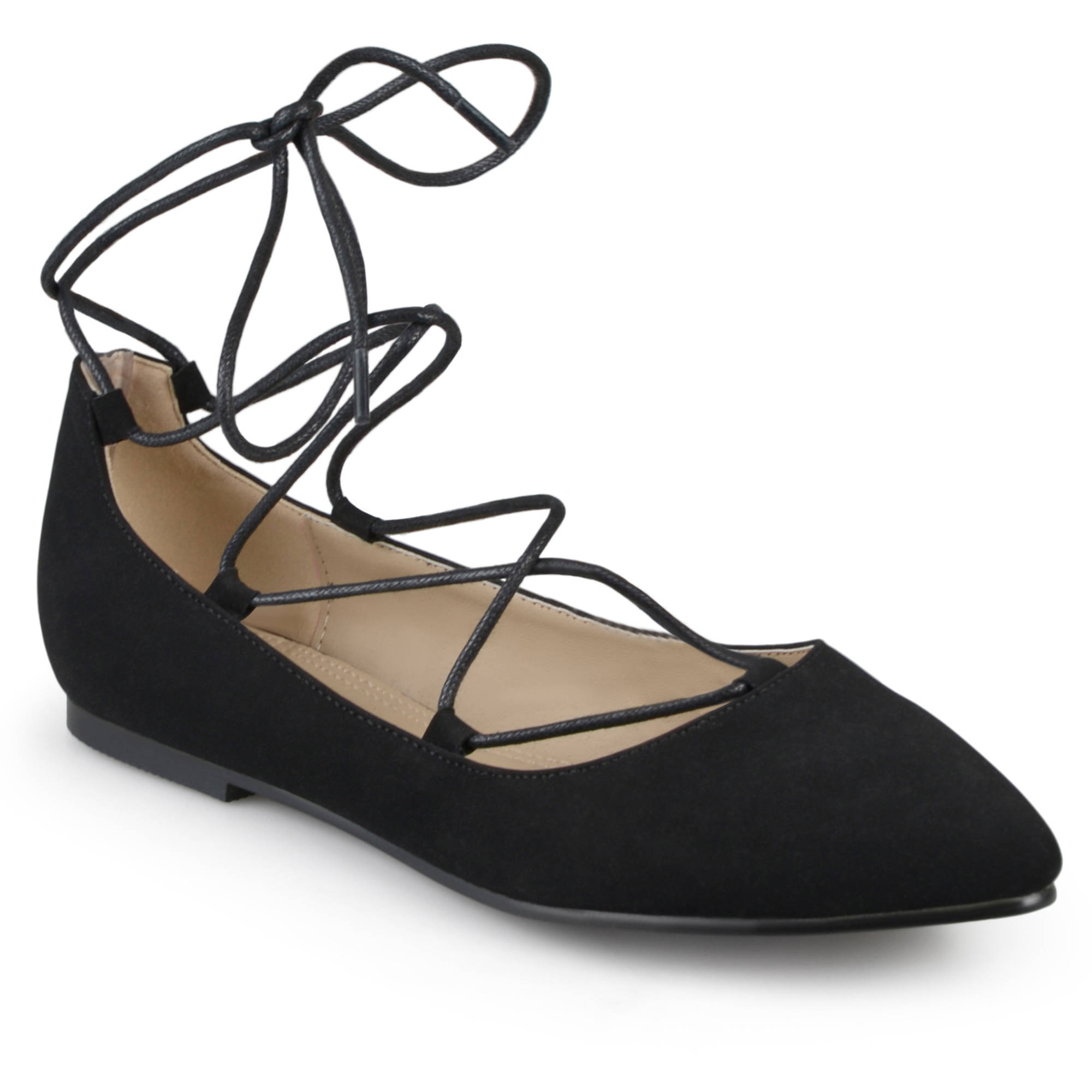 Womens Pointed Toe Lace-up Ballet Flats