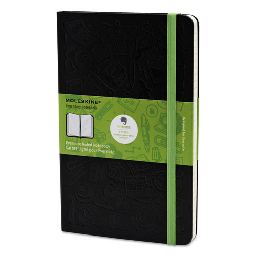 Ruled Evernote Smart Notebook, 8 1/4 x 5, Black Cover, 240 Sheets