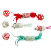 8 Pack Cat Toys Set,Legendog Sisal Mice Balls Bells Toy for Cats ; Kitties
