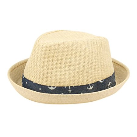 Fedora Hats for Boys, Girls, Toddlers, Kids, Nautical Theme, One Size w/Adjustable Drawstring, Natural - Tam O Shanter Hat