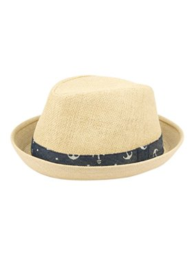 Fedora Hats for Boys, Girls, Toddlers, Kids, Nautical Theme, One Size w/Adjustable Drawstring, Natural