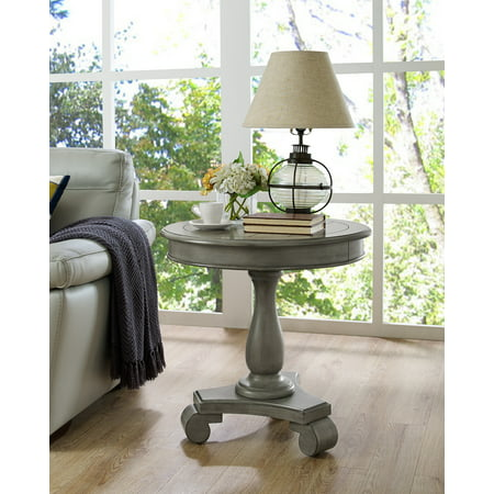 Roundhill Rene Round Wood Pedestal Side Table, Gray