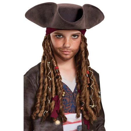 Pirates of the Caribbean 5: Captain Jack Hat Bandana & Dreads - Child (Captins Hat)