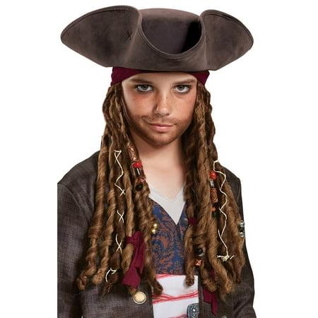 Pirates of the Caribbean 5: Captain Jack Hat Bandana & Dreads - Child