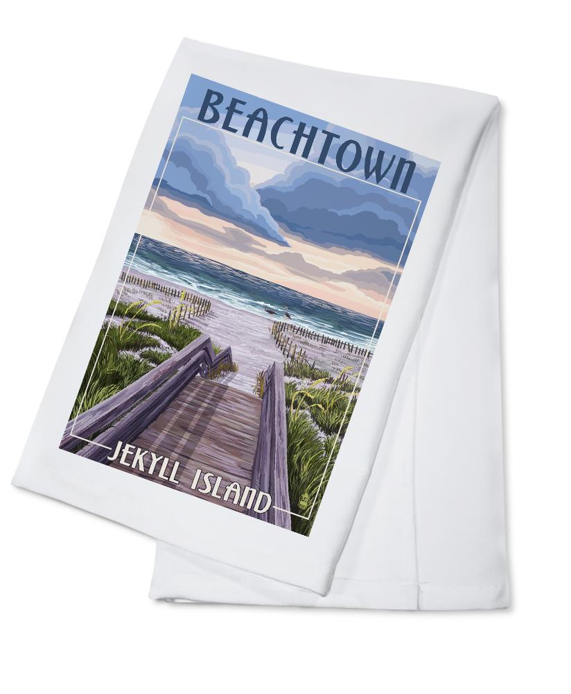 Beachtown Jekyll Island, Georgia Beach Boardwalk Scene Lantern Press Artwork (100% Cotton... by Lantern Press