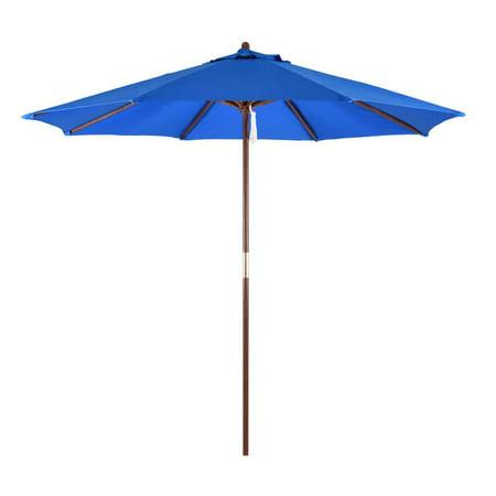 Sunline 9 Patio Market Umbrella In Poylester With Bronze Wood Pole
