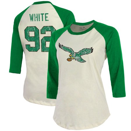 Reggie Wayne Nfl - Reggie White Philadelphia Eagles Majestic Threads Women's Vintage Inspired Player Name & Number 3/4-Sleeve Raglan T-Shirt - Cream/Kelly Green