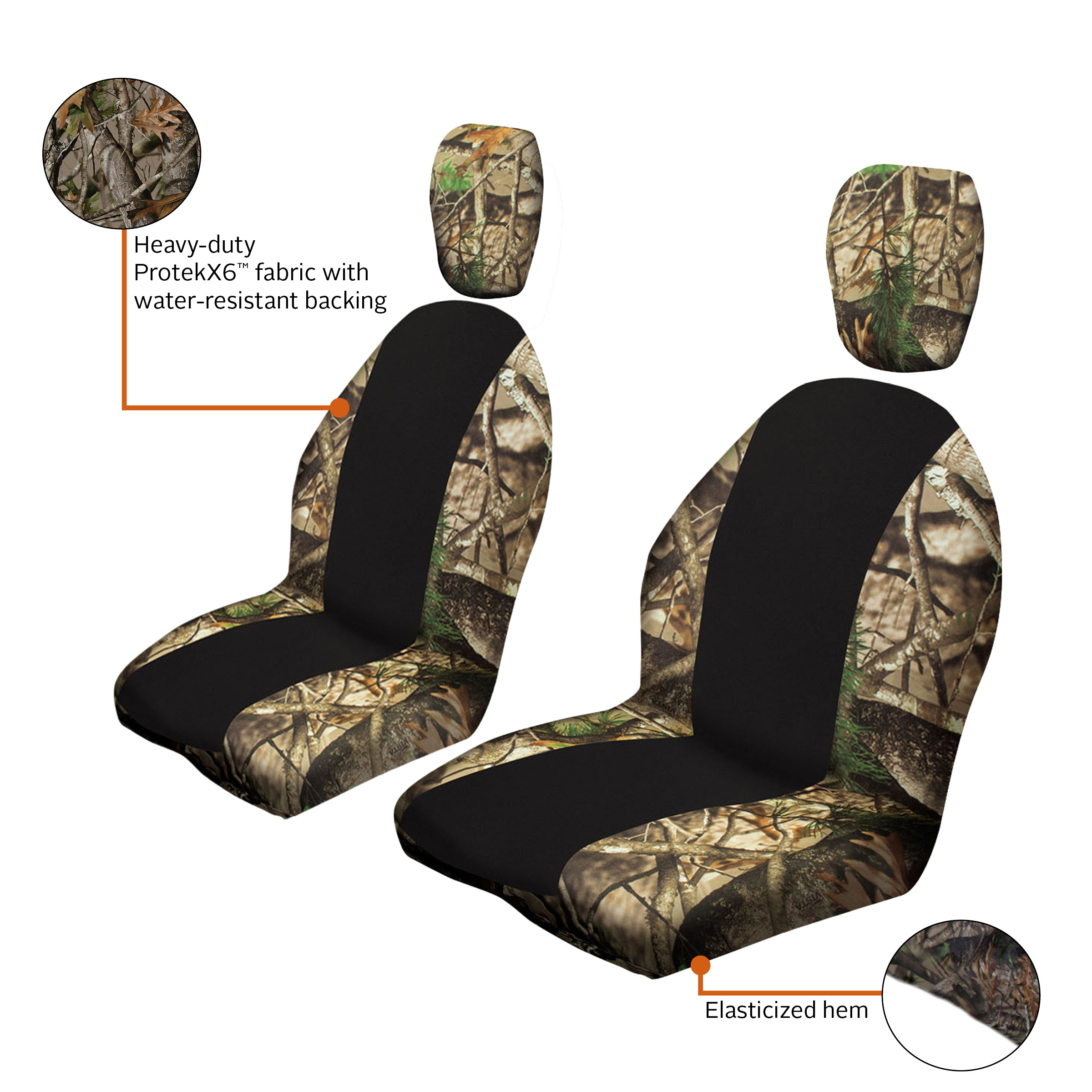 kemimoto UTV Camo Bucket Seat Cover with Back Seat Cover for Yamaha Rhino 2004-2015