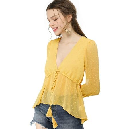 Unique Bargains Women's V Neck Drawstring Dots Chiffon Blouse Top Yellow M - image 5 of 6