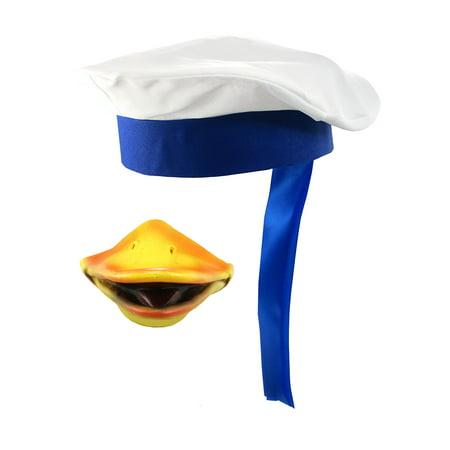 Navy Sailor Duck Beak Nose Cap Hat Mask Captain Halloween Costume Accessory - Harvey Beaks Halloween