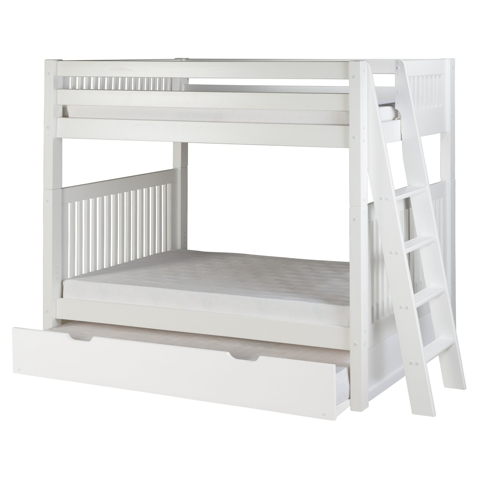 Camaflexi Twin over Twin Bunk Bed - Mission Headboard - Lateral Angle Ladder - White Finish