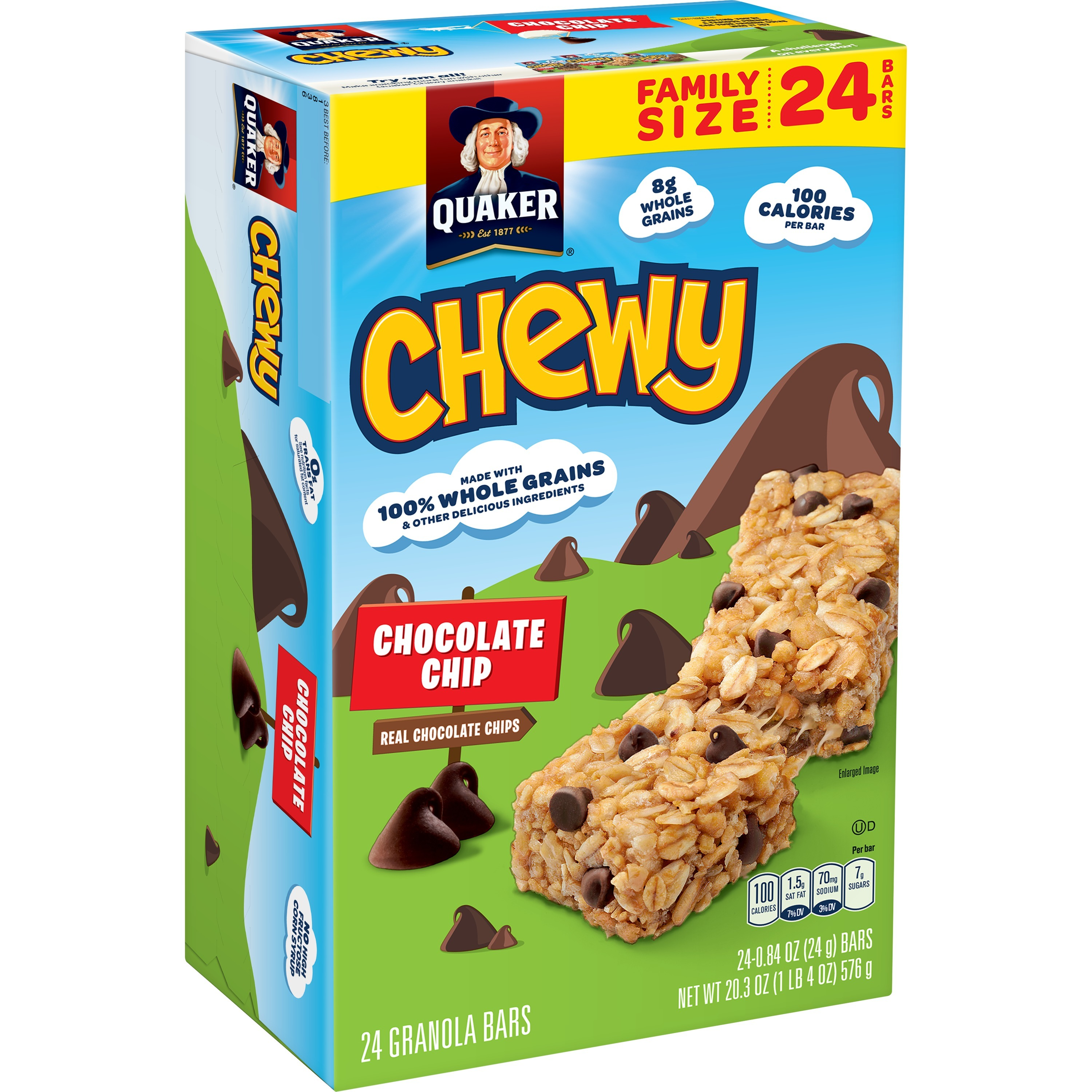 (3 Pack) Quaker Chewy Granola Bars, Chocolate Chip, 0.84 oz Bars, 24 Count