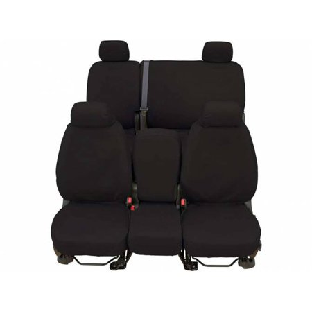 CoverCraft SeatSaver Front Row Charcoal Polycotton (fits) 17-18 Silverado Sierra w/ Split Bench Seat Adjustable Headrests Fold Down Console Cup Holder Lid w/o Storage Seat Airbags