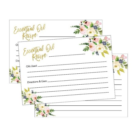 25 4x6 Floral Essential Oil Recipe Cards, Doterra Young Living YL Blank DIY Aromatherapy Recipe Notebook Journal or Organizer Binder Book Beginner Beauty Therapy Diffuser Perfume Recipe Blending Guide (Diy Recipe Binder)