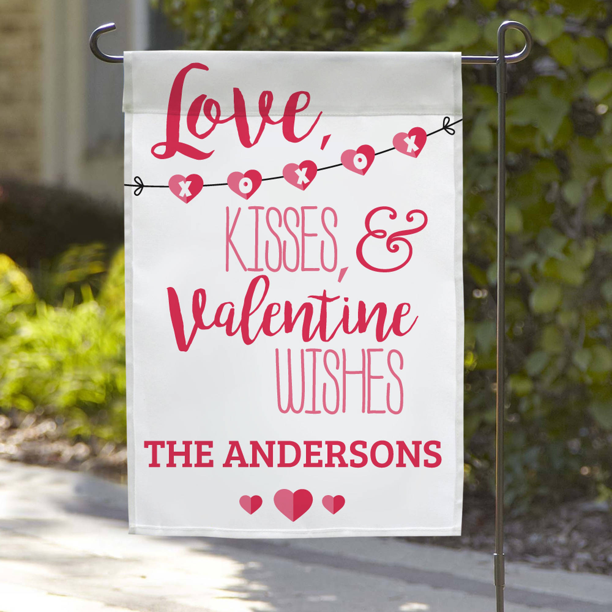 "Personalized Love, Kisses, & Valentine Wishes Name Garden Flag, 18"" x 12"""