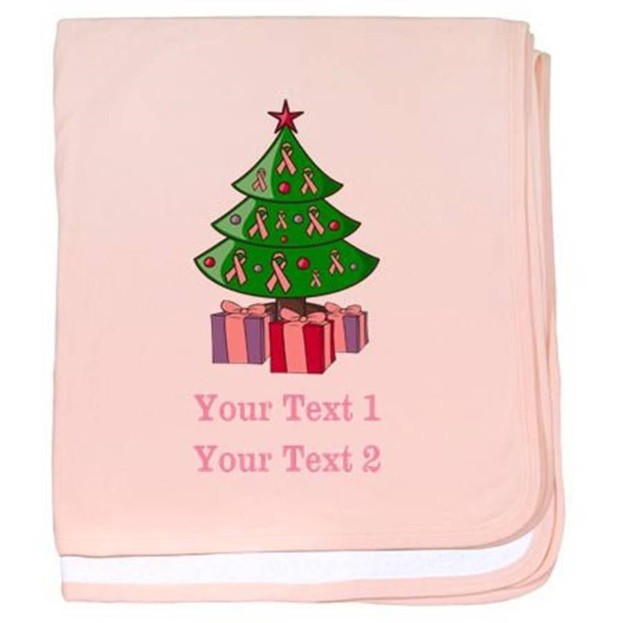 Cafepress Personalized Custom Breast Cancer Christmas Baby Blanket