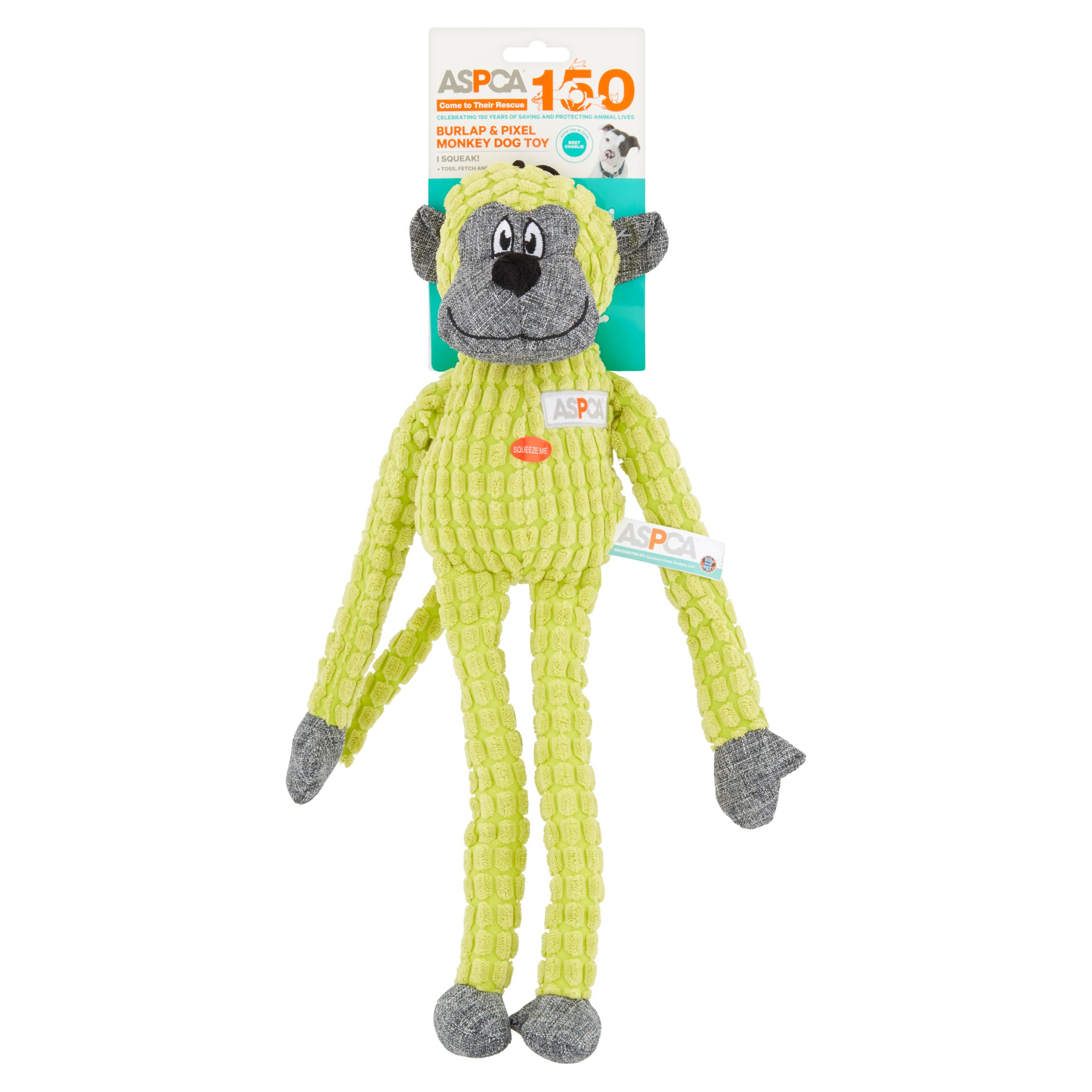 ASPCA Burlap & Pixel Monkey Dog Toy by European Home Designs, LLC