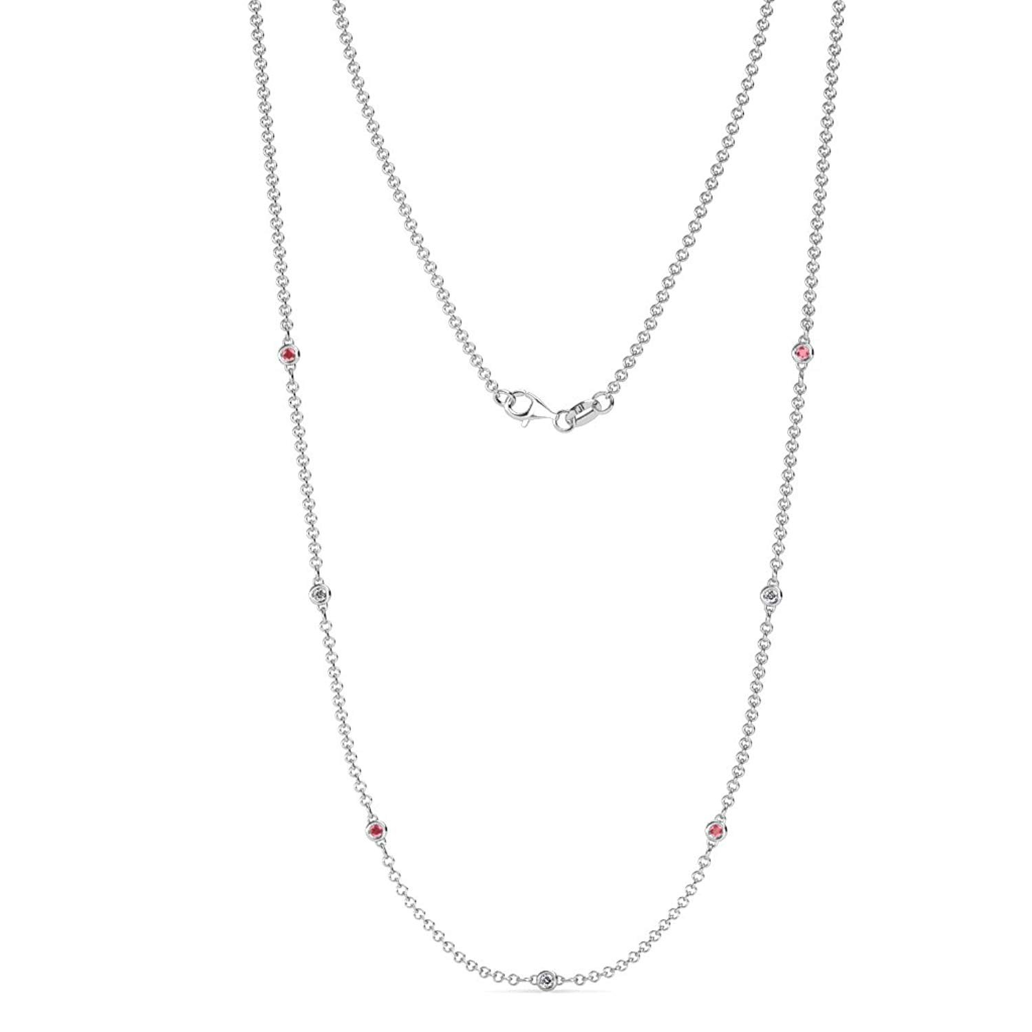 7 Station Petite Pink Tourmaline & Diamond on Cable Necklace (SI1-SI2, G-H) 0.16 Carat tw 14K White Gold by TriJewels