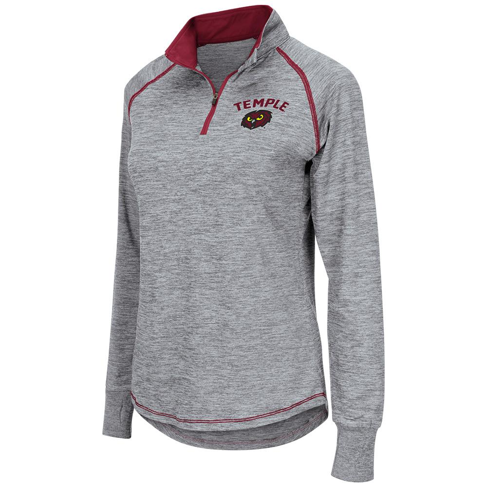 Womens NCAA Temple Owls Bikram Long Sleeve Quarter Zip Shirt