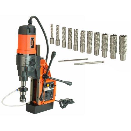 Cayken KCY-48-2WDO 1.8in. Magnetic Drill Press with 1700W Variable Speed Motor Weldon Shank 13 Piece 2in. Cut Depth Annular Cutter