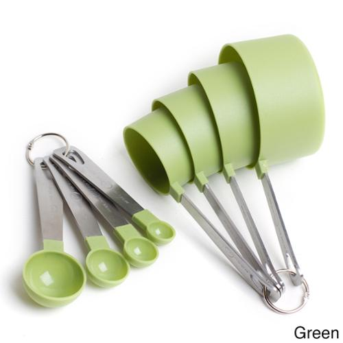 Cook's Corner 8 Piece Measuring Set-4 Measuring Cups; 4 Measuring Spoons with Stainless Steel Handles GREEN