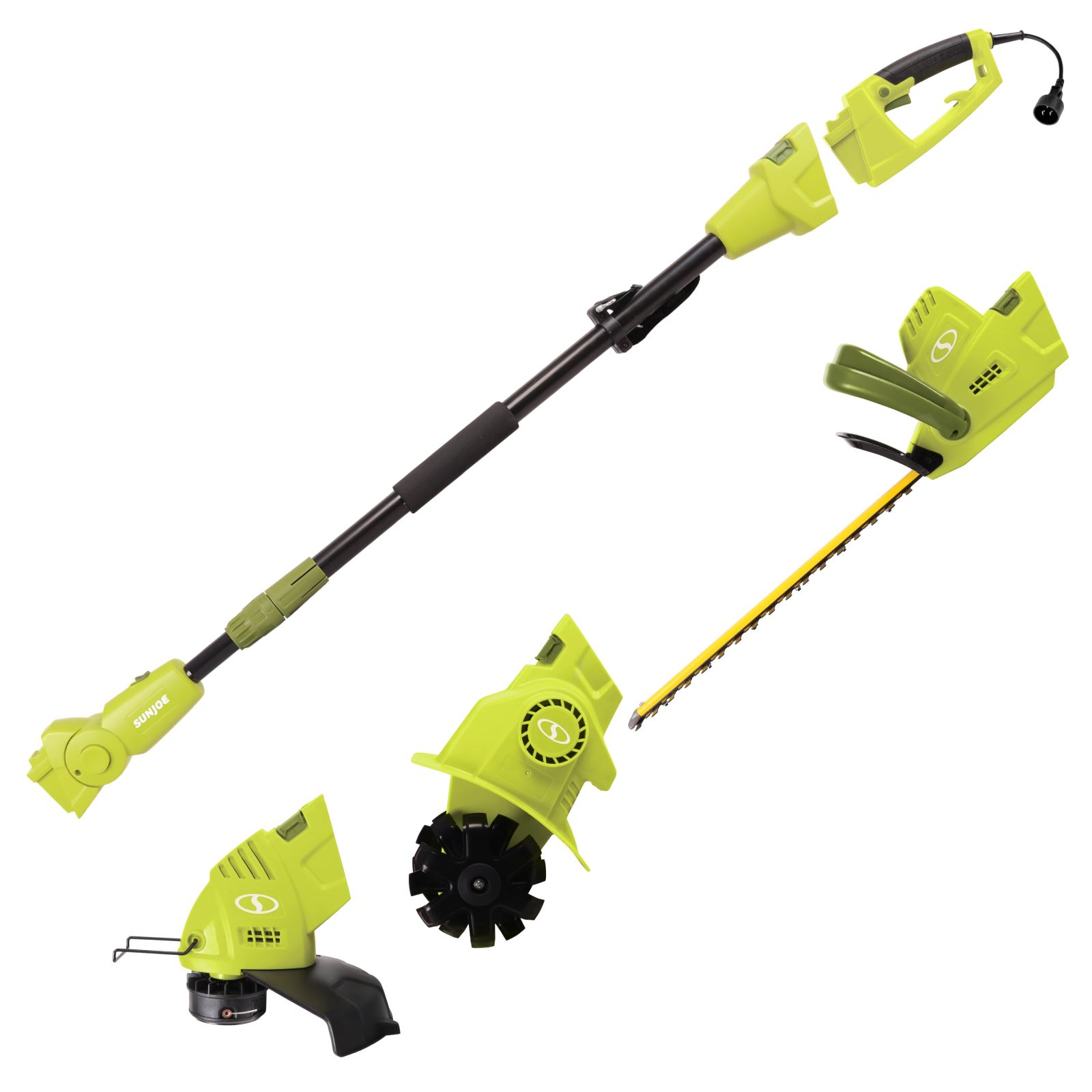 Sun Joe GTS4000E Electric Lawn Care System | Pole Hedge Trimmer · Grass Trimmer · Garden Tiller