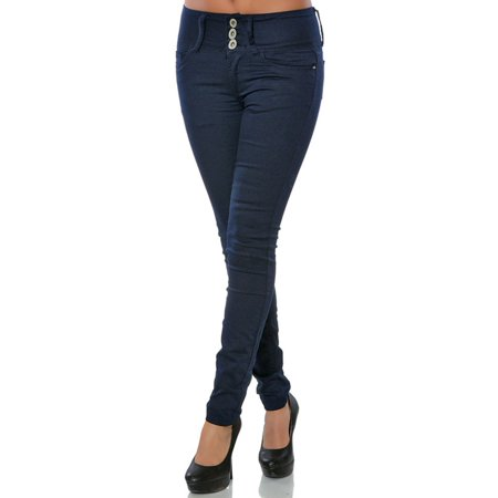 3 Buttons Women Jeans Washed Low Waist Skinny Denim (Lauren Three Button Jeans)