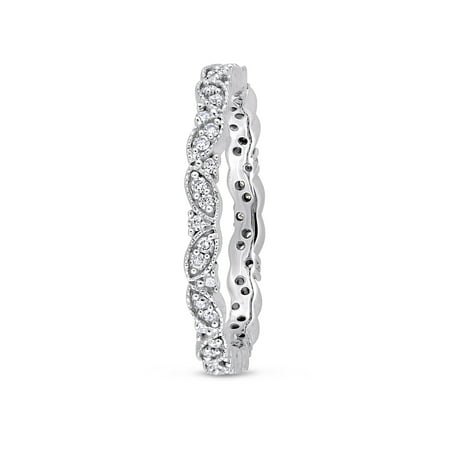 1/4 Carat T.W. Diamond 14k White Gold Vintage Leaf Stackable Ring