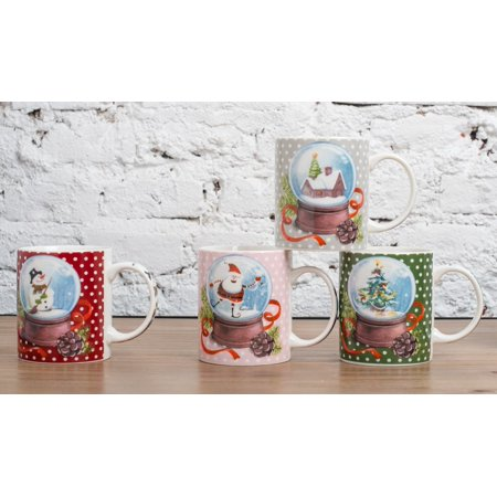 All For You X972 Christmas New Bone China Mug with Christmas Gift Prints, Christmas Tree, Christmas Socks, Furnace -Set of 4, 12 Oz, Gift Box - Christmas Mugs