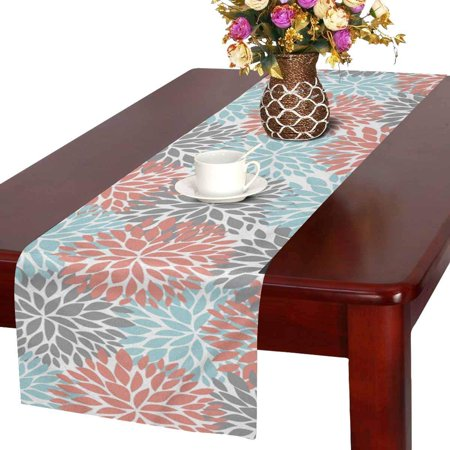 MKHERT Dahlia Pinnata Flower Coral Gray and Light Blue Table Runner Home Decor for Kitchen Dining Wedding Party 16x72 Inch