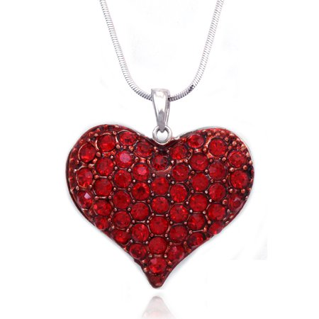 cocojewelry Small Heart Crystal Pave Pendant Necklace Valentine's Day Jewelry GIFT BOX ()