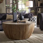 iNSPIRE Q Hatteras Drum Reclaimed Woodblock Barrel Coffee Table by  Artisan