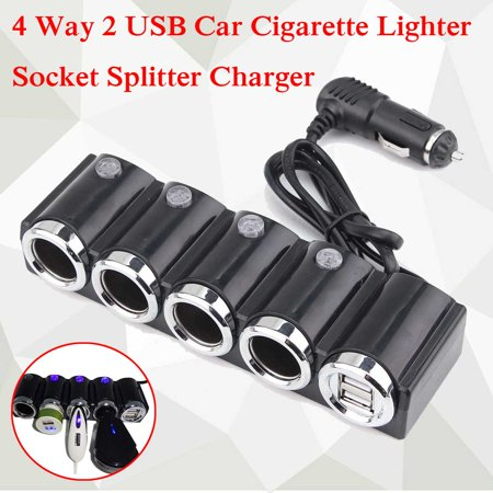 4 Way Car Cigarette Lighter Socket Splitter Power Adapter 2 USB 12V (4 Way Connector Socket)