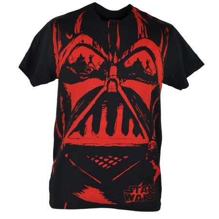 Vader Face - Fifth Sun Star Wars Darth Vader Sketched Red Face Movie Black Tshirt Tee XLarge