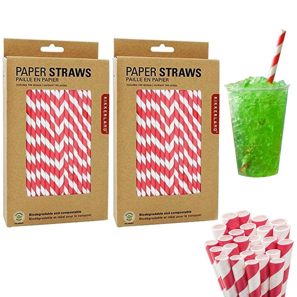 288 Pc Kikkerland Paper Straw Milkshake Red Stripe Biodegradable Food Safe Party