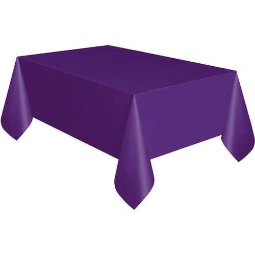 "Deep Purple Plastic Table Cover, 108"" x 54"""