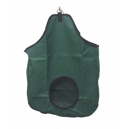 horse feeding hay bag solid panel with metal rings and clip canvas nylon green