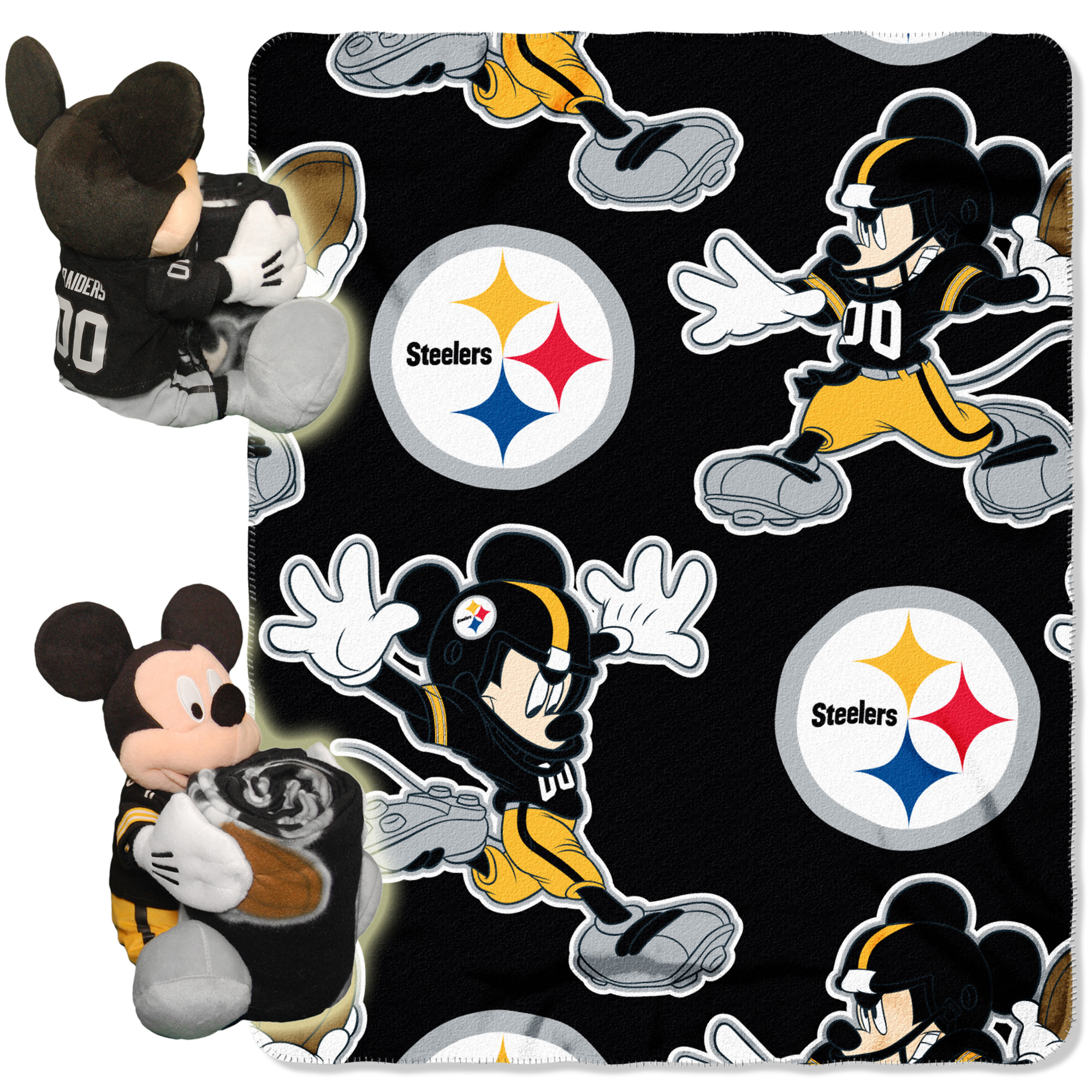 Pittsburgh Steelers The Northwest Company 40'' x 50'' Mickey Mouse Hugger Throw - No Size