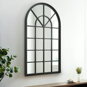 Black Frame Arched Windowpane Accent Mirror by Manor Park