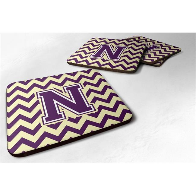 Carolines Treasures CJ1058-NFC Letter N Chevron Purple & Gold Foam Coaster, 3.5 x 0.25 x 3.5 in. - Set of 4 - image 1 of 1