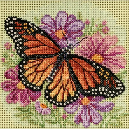 Winged Monarch Spring Buttons & Beads Counted Cross Stitch K-5