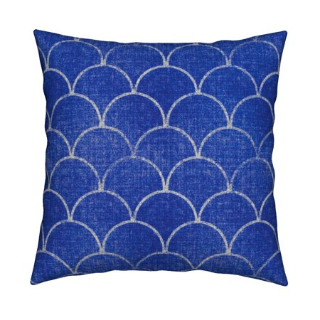 Scallops Mermaid Blue Denim Throw Pillow Cover w Optional Insert by Roostery