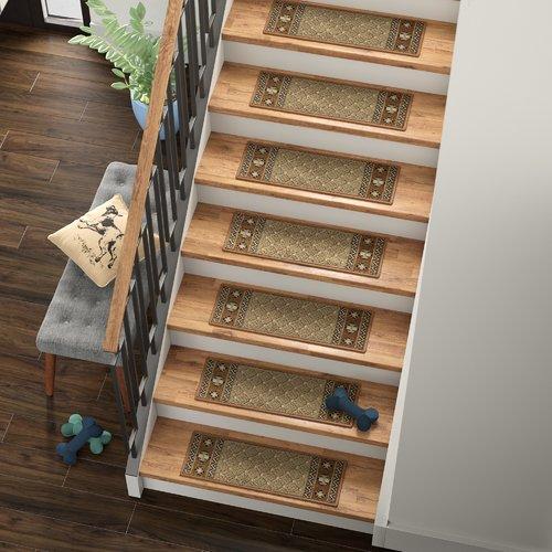 Tucker Murphy Pet Baynes Diamond Non-Slip Rubber Backed Stair Tread (Set of 7)