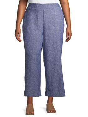 Terra & Sky Women's Plus Size Wide Leg Linen Crop Pant